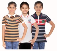 Menthol Girls Striped, Embroidered, Applique, Printed T Shirt(Multicolor)
