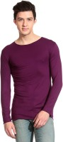 Tinted Solid Mens Round Neck Purple T-Shirt