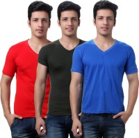 TeeMoods Solid Mens V-neck Red, Blue, Dark Green T-Shirt(Pack of 3)