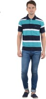 Norwood Striped Men's Polo Neck Blue, White, Black T-Shirt