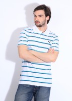 Puma Striped Men's Polo Neck Blue, White T-Shirt