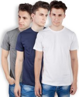 TOMO Solid Men's Round Neck Grey, Dark Blue, White T-Shirt(Pack of 3)