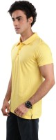 Inkovy Solid Mens Polo Neck Yellow T-Shirt