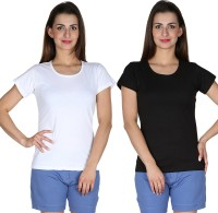 Faireno Printed Womens Round Neck Multicolor T-Shirt(Pack of 2)
