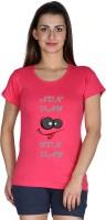 Faireno Printed Womens Round Neck Pink T-Shirt