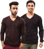 Unisopent Designs Solid Mens V-neck Brown, Black T-Shirt(Pack of 2)