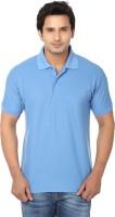 AWA Solid Men Polo Neck Blue T-Shirt