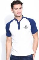 John Players Solid Mens Henley White, Blue T-Shirt