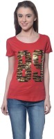 Meira Embroidered Womens Round Neck Red T-Shirt