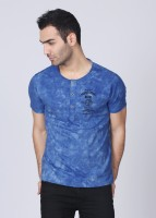 People Solid Mens Henley Blue T-Shirt