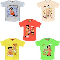 Chhota Bheem Boys Printed Cotton T Shirt(Multicolor, Pack of 5)