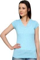 Ebry Self Design Women's V-neck Light Blue T-Shirt