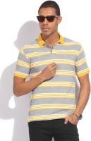 John Players Striped Men's Polo Neck White, Grey, Yellow T-Shirt