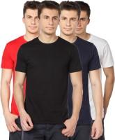TOMO Solid Mens Round Neck Black, Dark Blue, Red, White T-Shirt(Pack of 4)
