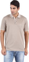 Furore Solid Mens Polo Neck Beige T-Shirt