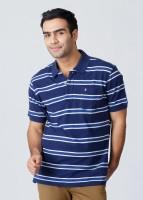 John Players Striped Men's Polo Neck Blue, White T-Shirt