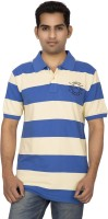 Red Line Striped Men Polo Neck White, Blue T-Shirt