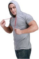 Inkovy Solid Mens Hooded Grey T-Shirt
