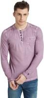 Breakbounce Solid Men's Henley Pink T-Shirt