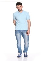 Pure Play Solid Men Polo Neck Light Blue T-Shirt