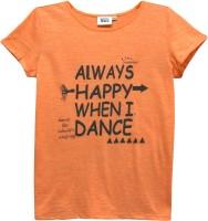 Abstract Mood Girls Printed T Shirt(Orange)