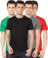 TOMO Solid Mens Round Neck Black, Grey, Green, Red T-Shirt(Pack of 4)