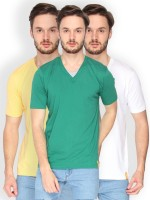 Campus Sutra Solid Men V-neck Dark Green, Yellow, White T-Shirt(Pack of 3)