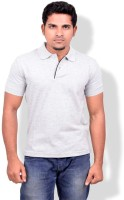 Gumality Solid Men's Polo Neck Grey T-Shirt