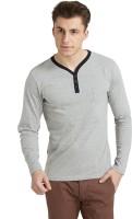 Breakbounce Solid Men's Henley Grey T-Shirt