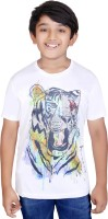 Tantra Boys Graphic Print Polyester T Shirt(White, Pack of 1)