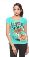 Trendy Girlz Printed Womens Round Neck Green T-Shirt