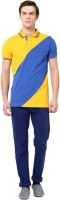 MONTEIL & MUNERO Striped Mens Polo Neck Yellow T-Shirt