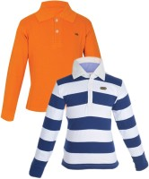 Gkidz Boys Solid, Striped Cotton T Shirt(Multicolor, Pack of 2)