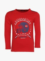 Cool Quotient Boys Self Design T Shirt(Red, Pack of 1)