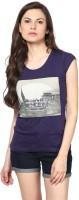 Fritzberg Printed Womens Round Neck Blue T-Shirt
