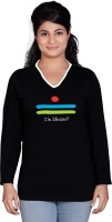 Tantra Graphic Print Womens V-neck Black T-Shirt