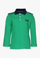 Cool Quotient Boys Solid T Shirt(Green, Pack of 1)