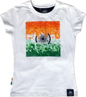 Tricolor Nation Graphic Print Women's Round Neck White T-Shirt