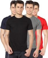TOMO Solid Mens Round Neck Black, Grey, Dark Blue, Red T-Shirt(Pack of 4)