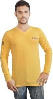 Al-Harsha Trend Solid Men's V-neck Yellow T-Shirt