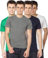 TOMO Solid Mens Round Neck Grey, Green, Dark Blue, White T-Shirt(Pack of 4)