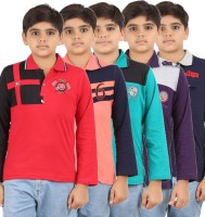 Meril Boys Solid T Shirt(Multicolor, Pack of 5)