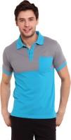 Elaborado Solid Mens Polo Neck Grey, Blue T-Shirt