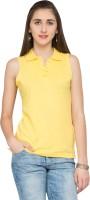 Alibi Solid Womens Polo Neck Yellow T-Shirt
