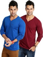 Rodid Solid Mens V-neck Blue, Maroon T-Shirt(Pack of 2)