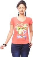 Trendy Girlz Graphic Print Women's Round Neck Orange T-Shirt