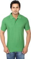 AWA Solid Men Polo Neck Green T-Shirt