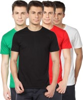 TOMO Solid Mens Round Neck Black, Green, Red, White T-Shirt(Pack of 4)