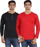Arowana Solid Men's Henley Black, Red T-Shirt(Pack of 2)