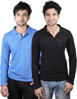 Spur Solid Men's Polo Neck Multicolor T-Shirt(Pack of 2)